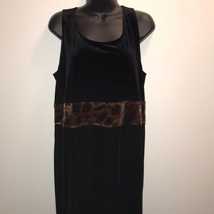 POSITIVE ATTITUDE Long Black Velour Dress~sz 16~